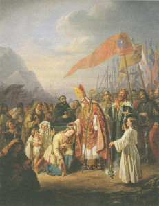 Piisp Henrik kastaa suomalaisia kristityiksi Kupittaalla. Taustalla Ruotsin Erik kuningas suurine sotajoukkoineen